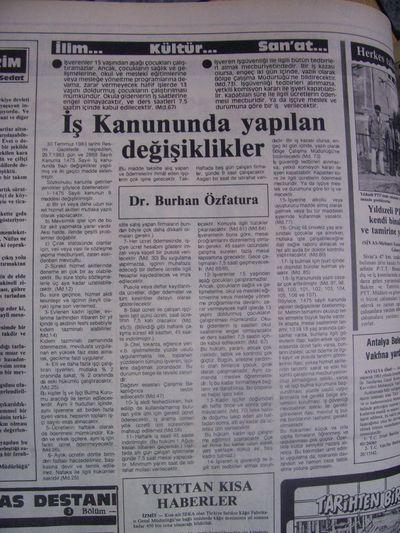 19 Ağustos 1983 Cuma - Turkiye