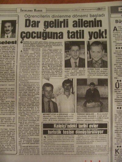 27 Haziran 1988 Pazartesi - Turkiye